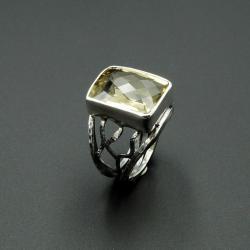 srebrny pierścionek z cytrynem - Pierścionki - Biżuteria