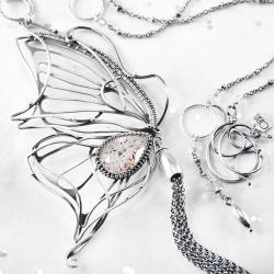 srebrny,naszyjnik,wire-wrapping,motyl,kwarc,ciba - Naszyjniki - Biżuteria