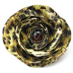 broszka,kwiat,satyna,zwierzęcy wzór,modna - Broszki - Biżuteria
