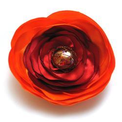 broszka,kwiat,satyna,romantyczna,elegancka - Broszki - Biżuteria