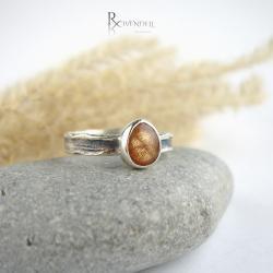 kamień słoneczny,dziewczęcy pierścionek - Pierścionki - Biżuteria