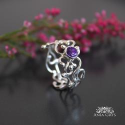 ametyst,pierscionek,srebrny,aniagrys - Pierścionki - Biżuteria
