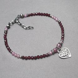 romantyczna,serce,delikatna,kamienie,minerały - Bransoletki - Biżuteria