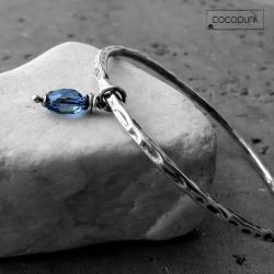 okrągła,srebrna,granatowa,prezent,z kamieniem - Bransoletki - Biżuteria