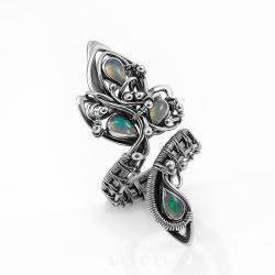 opal,pierścionek z opalem,srebrny,litori - Pierścionki - Biżuteria