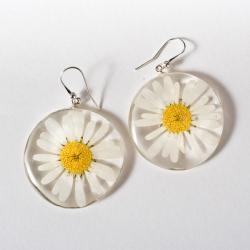kolczyki z żywicy,kwiaty srebro 925 - Kolczyki - Biżuteria