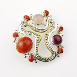 srebrny wisiorek,secesyjna broszka,dla niej, - Broszki - Biżuteria