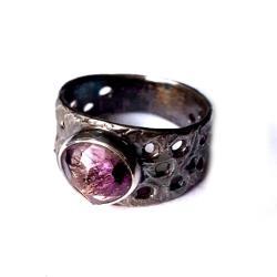 super,blask,mineralny,ametyst,kwarc,getyt,srebrny - Pierścionki - Biżuteria