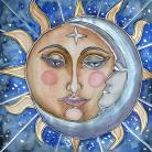 Ilustracje, rysunki, fotografia gwiazda,księżyc,srebrny,złoty,słońce,ilustracja,
