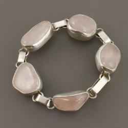 bransoletka z kwarcem rózowym - Bransoletki - Biżuteria