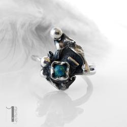 pierścionek srebrny,pierścionek z turkusem, - Pierścionki - Biżuteria
