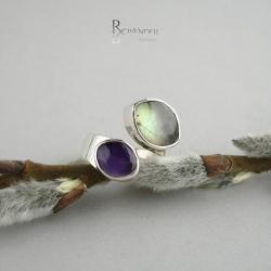 obrączka z kamieniami,wstążka - Pierścionki - Biżuteria
