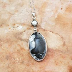 srebrny zimowy wisior z opalem i perłą - Naszyjniki - Biżuteria