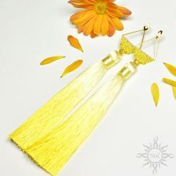 boho,na lato,chwosty,długie,geometryczne,żółte - Kolczyki - Biżuteria