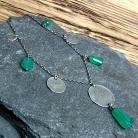 Naszyjniki naszyjnik srebrny,naszyjnik z onyksem zielonym