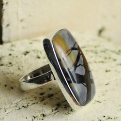 srebro,jaspis picasso,elegacja,klasyka - Pierścionki - Biżuteria