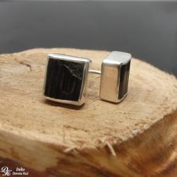 kolczyki,sztyfty,turmalin,czarny,kwadrat,naturalne - Kolczyki - Biżuteria