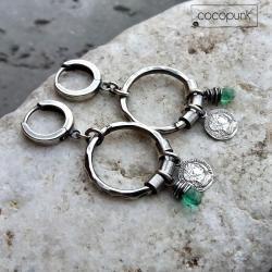 koła,z zawieszkami,srebrne,nowoczesne - Kolczyki - Biżuteria