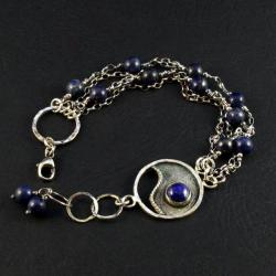 srebrna bransoleta z lapis lazuli - Bransoletki - Biżuteria