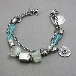 srebro925,apatyt,fluoryt,niebieski,surowy,boho - Bransoletki - Biżuteria