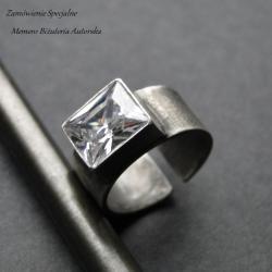 srebro,cyrkonia,surowy,oksydowany - Pierścionki - Biżuteria