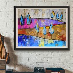 pejzaż,pastele,farby akrylowe, - Ilustracje, rysunki, fotografia - Wyposażenie wnętrz
