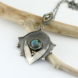 labradoryt,kwiat,srebrny wisior - Wisiory - Biżuteria