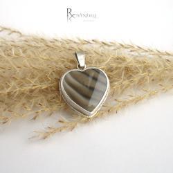 krzemień pasiasty,serce,srebrny wisior - Wisiory - Biżuteria