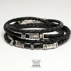 bransoleta męska,skórzana bransoleta dla mężczyzn - Bransoletki - Biżuteria