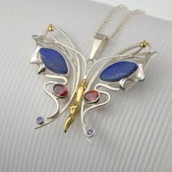 srebrny motyl wisior - Wisiory - Biżuteria