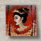 Obrazy akryl,złoto,czerwień,dama,postać,profil