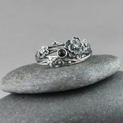 kwiaty,srebrny wianuszek,kwiatowy pierścionek - Pierścionki - Biżuteria