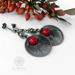 srebrne kolczyki z koralem,kolczyki koła - Kolczyki - Biżuteria