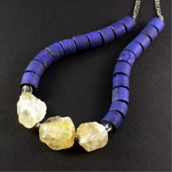 srebrny naszyjnik z lapis lazuli - Naszyjniki - Biżuteria