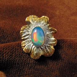 Pierścionek pozłącany z opalem - Pierścionki - Biżuteria