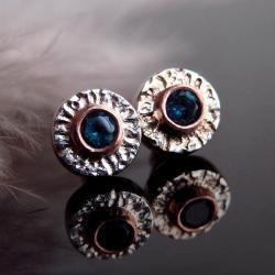 kolczyki,srebro,srebro złocone,sztyfty,topaz - Kolczyki - Biżuteria