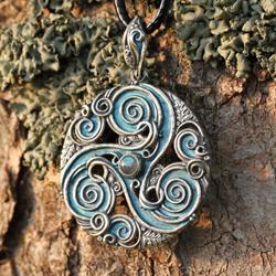 triskel,labradoryt,celtycki,morski,potrójna - Wisiory - Biżuteria