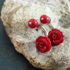 Kolczyki drobne,koralowe,róże