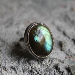 pierścionek srebro labradoryt filigran retro - Pierścionki - Biżuteria