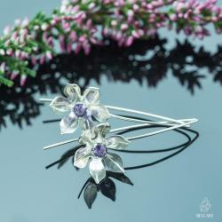 kwiaty,ametyst,naturalne,kobiece - Kolczyki - Biżuteria