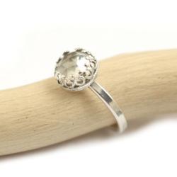 pierścionek,kryształ górski,retro,srebrny - Pierścionki - Biżuteria