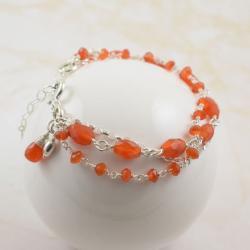 bransoletka,pomarańczowa,karneol,trzyrzędowa - Bransoletki - Biżuteria