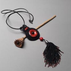 długi naszyjnik,z chwostem,haft koralikowy, - Naszyjniki - Biżuteria