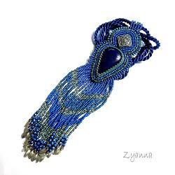 naszyjnik,boho,niebieski,frędzle - Naszyjniki - Biżuteria