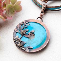 naszyjnik miedziany,kwiaty,niebieski,elegancki - Naszyjniki - Biżuteria