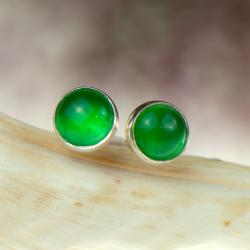 srebrne sztyfty z zielonym kamieniem - Kolczyki - Biżuteria