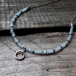 akwamaryn,błękitny,delikatny,komplet,nowoczesny - Naszyjniki - Biżuteria