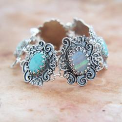 srebrna,bransoletka,z amazonitem i opalem - Bransoletki - Biżuteria