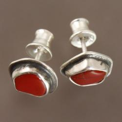 kolczyki z jaspisem czerwonym - Kolczyki - Biżuteria