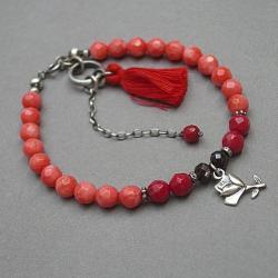 romantyczna,kamienie,róża,chwost,boho - Bransoletki - Biżuteria
